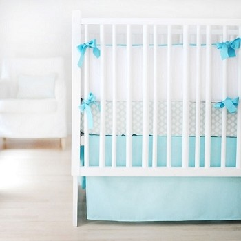 Aqua & White Baby Bedding | Sweet & Simple Aqua Crib Collection