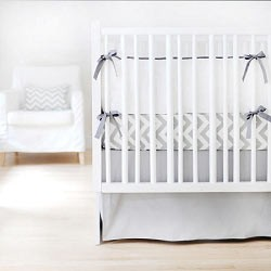 White & Gray Baby Bedding | Sweet & Simple Crib Collection | Solid Gray Crib Skirt