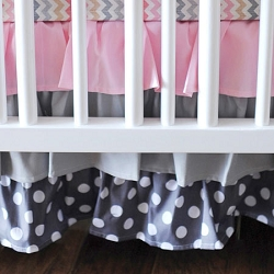 Pink & Gray Ruffled Crib Skirt | Sophie Crib Collection
