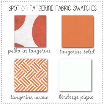 Spot on Tangerine Bedding Collection Fabric Swatches Only