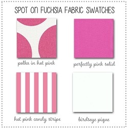 Spot on Fuchsia Baby Bedding Collection Fabric Swatches Only