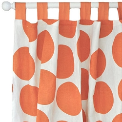 Orange Polka Dot Curtain Panels  |  Spot On Tangerine Crib Collection