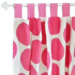 Hot PInk Polka Dot Curtain Panels  |  Spot on Fuchsia Crib Collection