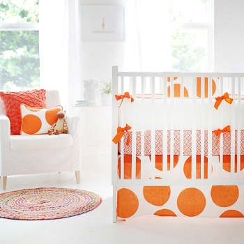 Orange Baby Bedding  |  Spot On Tangerine Crib Collection