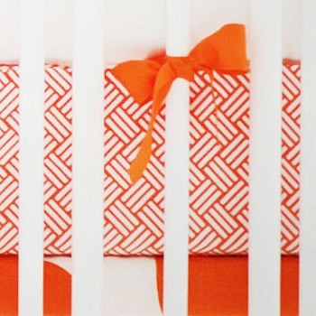 Orange Weave Crib Sheet | Spot On Tangerine Crib Collection
