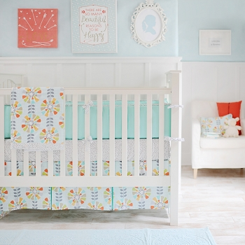 Aqua & Coral Floral Baby Bedding | Spring Fever Collection
