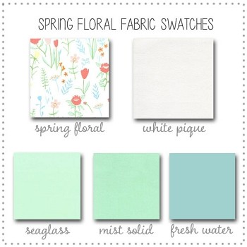 Spring Floral Crib Bedding Collection Fabric Swatches Only