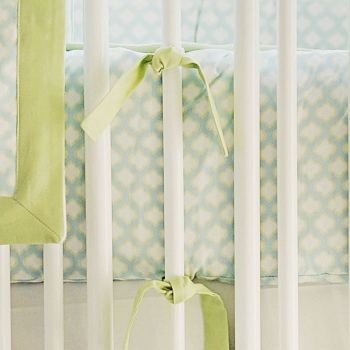 Aqua and Green Crib Bumper | Sprout Collection