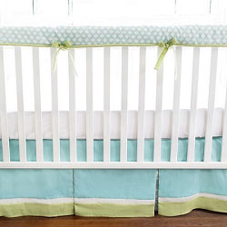 Aqua & Green Crib Rail Cover  |  Sprout Crib Collection