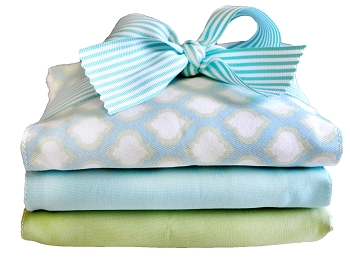 Aqua and Green Pattern Burp Cloth | Sprout Crib Collection
