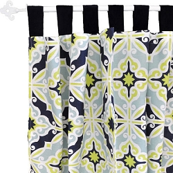 Lime Green & Navy Curtain Panels  |  Starburst in Kiwi Crib Collection