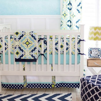 Green and Navy Crib Bedding | Starburst in Kiwi Collection