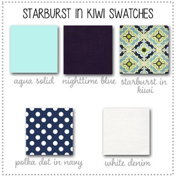 Starburst in Kiwi Crib Collection Fabric Swatches Only
