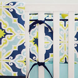 Lime Green & Navy Crib Bumper  |  Starburst in Kiwi Crib Collection