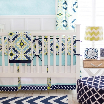 Green & Navy Baby Bedding  |  Starburst in Kiwi Crib Collection