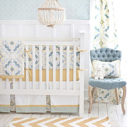 Soft Green & Gold Baby Bedding  |  Starburst in Gold Crib Collection