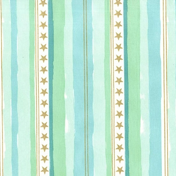 Michael Miller Fabrics Stars and Stripes with Cotton Metallic in Aqua