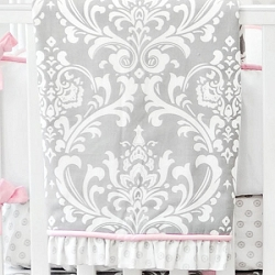 Pink and Gray Damask Baby Blanket | Stella Gray Crib Collection