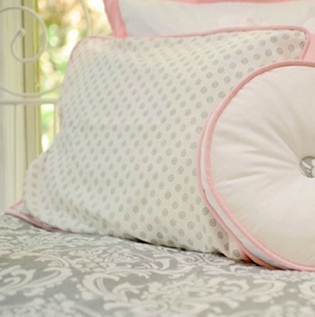 Gray & Pink Pillow Sham | Stella Gray Crib Collection