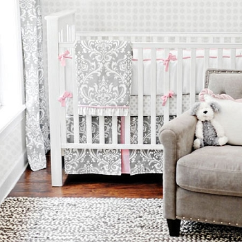 Pink & Gray Baby Bedding | Stella Gray Crib Collection