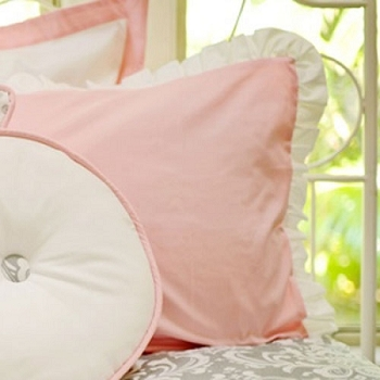 Pink Cotton Euro Sham with White Ruffle