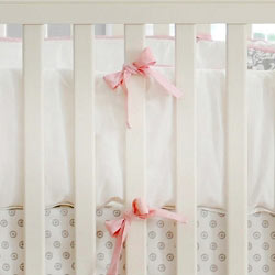 Pink & White Crib Bumper | Stella Gray Crib Collection