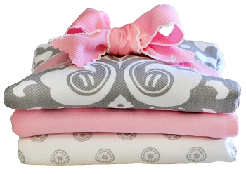 Pink and Gray Pattern Burp Cloth |Stella Gray Crib Collection