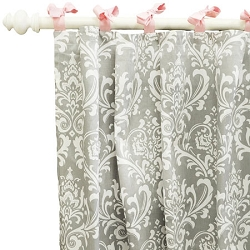 Gray Damask Curtain Panels  |  Stella Gray Crib Collection