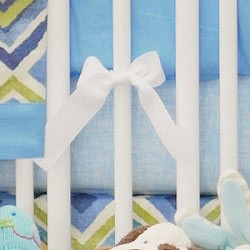 Blue Check Crib Sheet | Street of Dreams in Blue Collection
