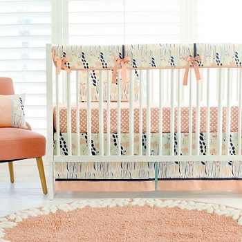 Navy and Peach Crib Rail Cover Bedding Set | Summer Grove Bumperless Collection