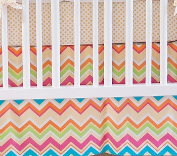 Yellow and Pink Chevron Crib Skirt  |  Sunnyside Up Crib Collection