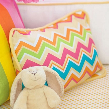 Yellow and Pink Chevron Pillow  |  Sunnyside Up Crib Collection