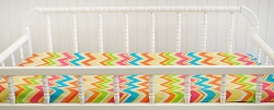 Yellow and Pink Chevron Changing Pad Cover  |  Sunnyside Up Crib Collection