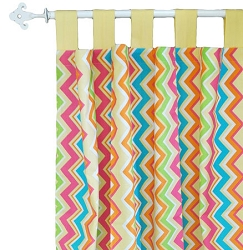 Yellow & Pink Chevron Curtain Panels  |  Sunnyside Up Crib Collection