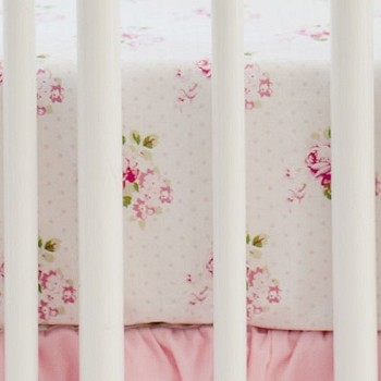Shabby Rose Crib Sheet  |  Pink Ombre Crib Collection