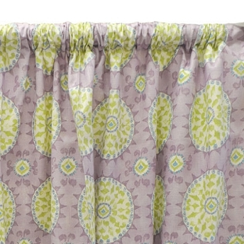 Green & Lavender Suzani Curtain Panels