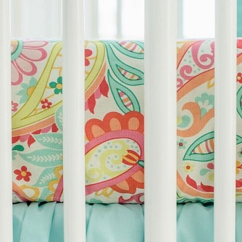 Paisley Crib Sheet | Pink or Aqua Ombre Crib Collection
