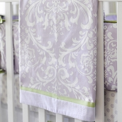 Lavender Damask Baby Blanket | Sweet Violet Crib Collection