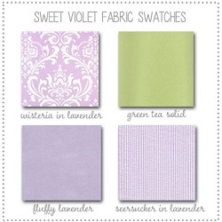 Sweet Violet Crib Collection Fabric Swatches Only