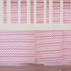 Sweetheart Pink Chevron Crib Skirt