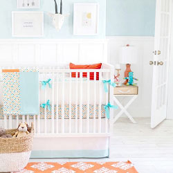 Aqua & Orange Polka Dot Baby Bedding  |  Carnival Crib Collection
