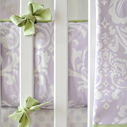 Green and Lavender Crib Bumper | Sweet Violet Crib Collection