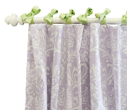 Green & Lavender Damask Curtain Panels  |  Sweet Violet Crib Collection