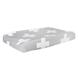 Gray Changing Pad Cover | Gray Swiss Cross Crib Collection