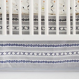 Navy Tribal Crib Skirt | Temple of Allanque Crib Collection