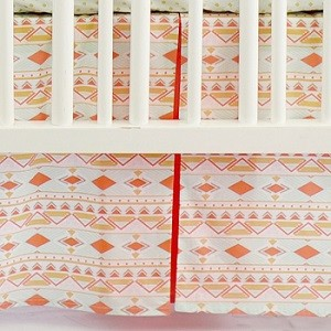 Coral Tribal Crib Skirt| Tribal Study in Aura Crib Collection