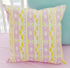 Lavender and Gold Tribal Pillow | Tribal Study in Jewel Crib Collection