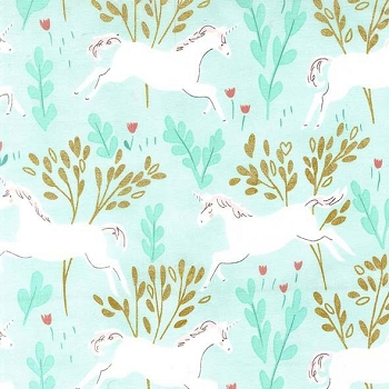 Michael Miller Fabrics Unicorn Forest with Cotton Metallics Aqua