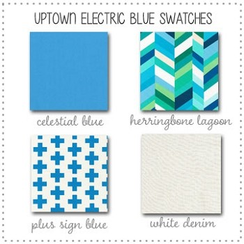 Uptown in Blue Bedding Collection Fabric Swatches Only