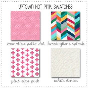 Uptown in Hot Pink Bedding Collection Fabric Swatches Only